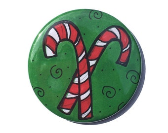 Candy Cane magnet, pin, mirror, bookmark, or keychain - Christmas stocking stuffer, holiday fridge magnet, pinback button holiday decoration