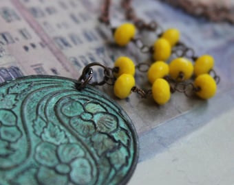 Necklace - Patina Floral Medallion Pendant with Yellow Beads