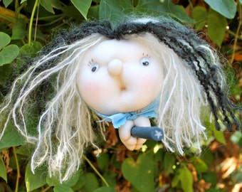 Celena the Moon Witch - Kitchen Witch Doll - Herb Witch - Green Witch - Good luck doll for your kitchen!