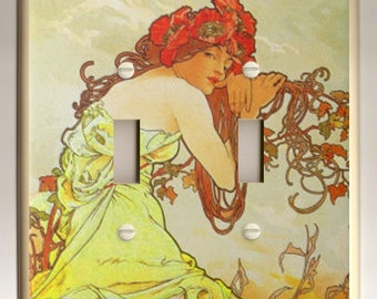 """Alphonse Mucha """"Summer"""" Yellow, Orange Red, Brown Decorative Double Toggle Light Switch Plate"""