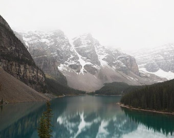 Mountain Landscape Photography, Moraine Lake Decor, Nature Photography, Banff Rocky Mountains, Rustic Landscape Print - 20 Dollar View