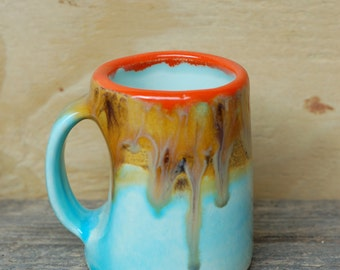 Ceramic Coffee Mug in Desert Landscape Colors- Handmade Mug - Ceramics and Pottery- Modern Ceramics