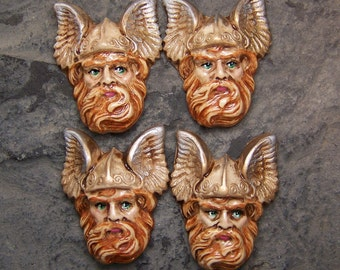Yes, the World's Tiniest Viking FACE CAB Cabochon Antiqued Polymer Clay