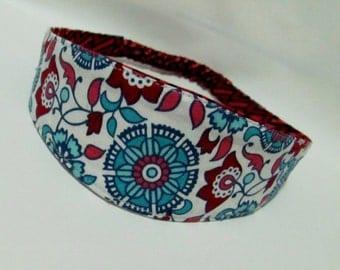 Fabric Headband, Reversible Hairband Red Rustic Flowers, Women Hairband, Hair Fashion Accessories, Fabric Headband for Women