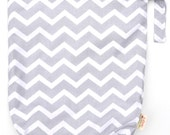 Large 14 x 16 x 4 Wet Bag  / Light Grey Chevron Fabric / Perfect for Diapers / Gym / Swim / SEALED SEAMS and Snap Strap