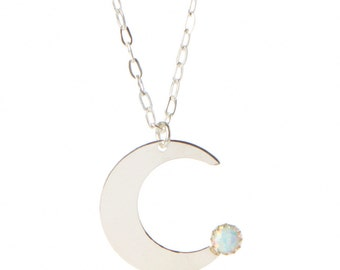 Opal Glass Crescent Necklace