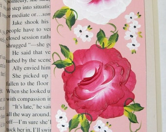 Hand-painted Magnetic Bookmark - Pink and White Roses and Daisies - No. 1189