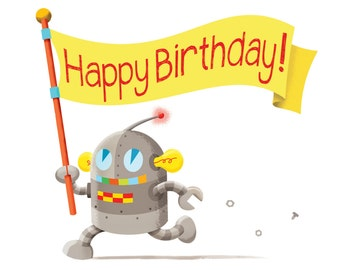 Happy Birthday Card - birthday party card, birthday party invitation, robot card, robot birthday card for kids