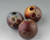 Handmade Blown Hollow Lampwork Glass Focal Trio Etched Matte SRA Aja Vaz