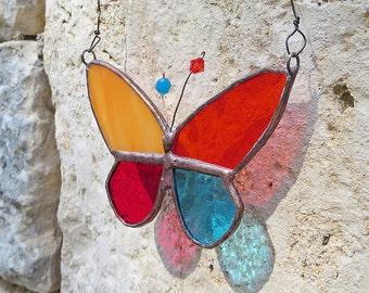 Butterfly Suncatcher, Handmade Home Decor, Boho Stained Glass Butterfly,  Patchwork Butterfly, Handmade in France by PamelaAngus