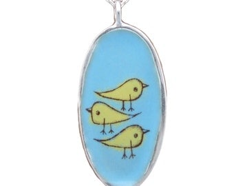 Bird Necklace and Branch Necklace - Reversible Enamel and Sterling Silver