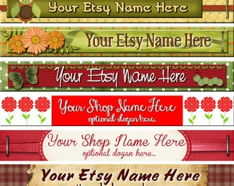 Raggedy Dreams Designs - Premade Etsy Shop Banner - SHOP ICON - Primitive Scrapbook Elements Floral Daisies Ribbons Bows Butterflies Owls