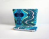 Zipper Pouch SET of 2 Makeup Bag Cosmetic Case Gypsy in Cobalt Amy Butler Lark