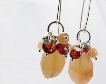 Sterling Silver Dangle Earrings- Peach Moonstone, Burgundy Orrisa Garnets - Christian Jewelry - Bridesmaid, Friendship