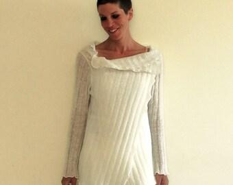 white wrap cardigan, wool white sweater, minimal wool shrug, wool top