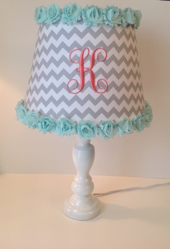 monogrammed lamp shade gray chevron with mint green rose. Black Bedroom Furniture Sets. Home Design Ideas