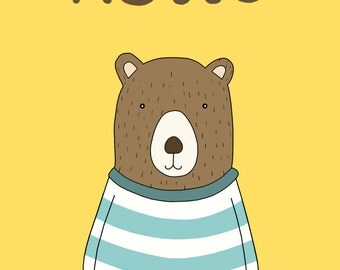 Hello Bear Print, Fine Art Print by Kate Durkin, Nursery Alphabet Art