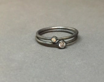 white diamond opal wedding ring engagement ring stackable wedding modern rings simple oxidized sterling silver october april birthstone ring