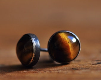 Tiger's eye sterling silver 8mm stud earrings