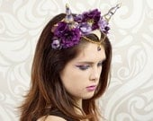 Dragon Queen Floral Headdress, Purple and Gold, Costume Headpiece, Cosplay, Goddess, Maenad, Satyr, Faun, Flower Crown, Costume Horns