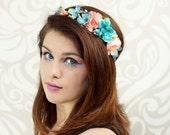 Woodland Bridal Crown, Coral Pink and Sky Blue, Flower Crown, Bridal Headpiece, Bohemian, Bridesmaid Headpiece, Hair Wreath, Floral Circlet