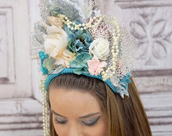 Mermaid Headdress, Siren Headpiece, Water Nymph, Costume Headdress, Mermiad Crown, Cosplay, Fantasy