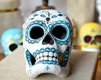 Day of the Dead Paper Mache Sugar Skull Blue and White