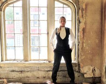 Antique Edwardian Mens Tuxedo Waistcoat and Trousers Men's Small Womens 6