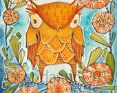 halloween owl watercolor print - holiday wall decor -  8 x 10 limited edition and archival print of a watercolor by cori dantini