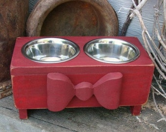 Dog Bowl Holder Feeding Stand Red Cottage Feeder Elevated Bowls Custom