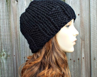 Black Knit Hat Black Mens Beanie Black Womens Hat - Chunky Knit Winter Hat- Ribbed Brim Skullcap - Black Hat Black Beanie