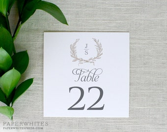 Laurel Wreath Wedding Table Numbers, Laurel Wreath Table Numbers, Wreath Table Numbers, Monogram Wreath, Printed Table Number Card