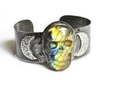 Labradorite Skull Cuff Bracelet. Crescent Moon Cuff Bracelet. Rustic Oxidized Metal Bracelet.