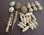 Carved Bone Beads and Pendants big lot Frogs, Faces, Fish, Stars, Buddhist Symbols DESIGNER PACK