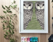 HALF PRICE SALE Owls black and white graphic print with a green background created as a mirror image in a distinct contemporary style in ink