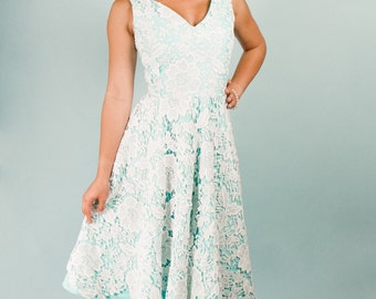Something Blue Dress OOAK White Guipure Lace Over Aqua Blue Cotton Underlay Large Floral Motif V neck tank calf length