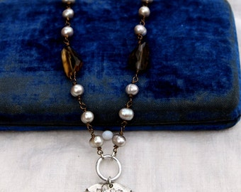 Vintage Rhinestone, Fresh Water Pearl and Smoky Quartz One of a Kind Necklace..Smashing One