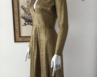1970s Gold Metallic Runway Goddess Dress