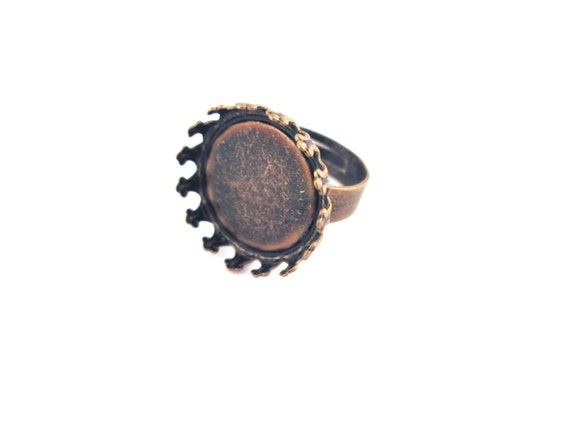 18mm Brass prong bezel ring bases, pick your amount