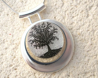 Tree of Life Necklace, Fused Glass Jewelry, Dichroic Jewelry, Slide Necklace, Black Silver, Rooted Tree, Dichroic Jewelry, 091816p100