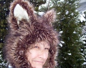 Coyote Fur Hat Furry Wolf Brown Blonde Black Hood Adult Unisex Geek Animal Hat Halloween Costume Birthday Furry Hat Huge Ears Furry Hood