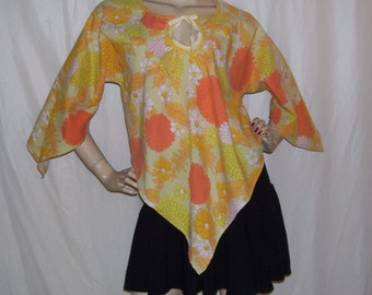Angel Wing Top Vintage Fabric and Pattern Hippie 70s Shirt OOAK Flower Power Yellow Orange Asymmetric Shirt Bell Sleeve Boho Gypsy adult m l