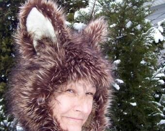 Coyote Fur Hat Furry Wolf Brown Blonde Black Hood Adult Unisex Geek Animal Hat Halloween Costume Birthday Furry Hat Huge Ears Furry Hood