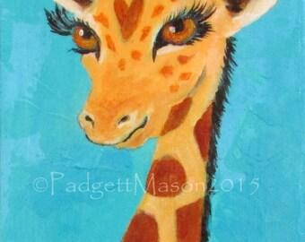 "Padgett Mason orginal acrylic painting giraffe ""Tip Top"""