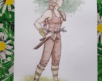 Ariana - Character Concept 2 - Original Art Watercolor Sketch of Comic Illustration