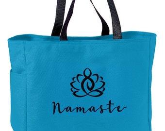 Namaste Meditation Yoga Tote Bag Embroidered OM OHM AUM