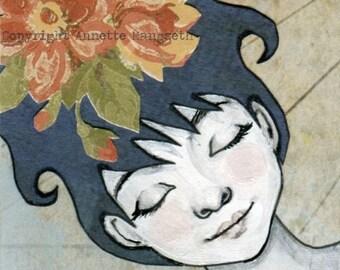 Dakota - Original miniature art - ACEO - Mixed media artwork ,  girl with blue hair  - flower hair art card