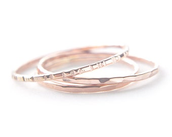 14K Solid Rose Gold stacking ring set - 3 faceted hammered grooved rings - delicate pink gold rings - minimal jewelry /Signe 1mm 14K RG