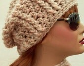 Chunky Slouch Hat Women Peachy Gray Adult Accessory Ready To Ship