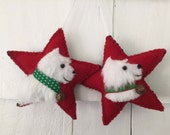RESERVED 3 Westie Dog Breed Ornaments, West Highland Terrier, Vintage Wool & Faux Fur Star, Christmas Tree, Wall / Door Hanger, Bowl Filler